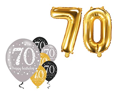 Feste Feiern Party-Deko zum 70. Geburtstag 8 Teile Set Zahlenballon Luftballon Folie Zahl 70 Gold Schwarz Silber metallic Dekoration Happy Birthday 70