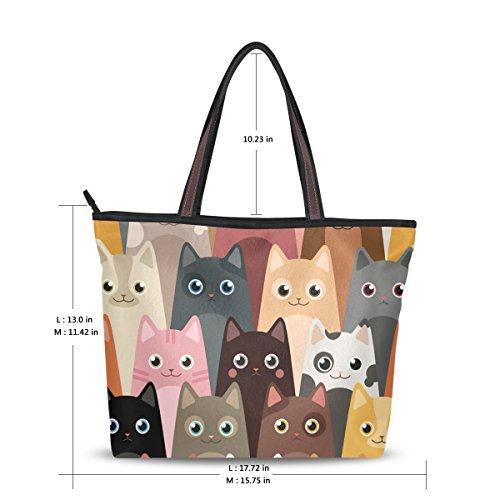 Womens Tote Bag Cats Shoulder Bags with Zipper Ladies Handbag Long Handle L