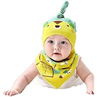 Wicemoon Cotton Hat and Dribble Bandana Bib Saliva Towel Suit for bay (0-24 months)