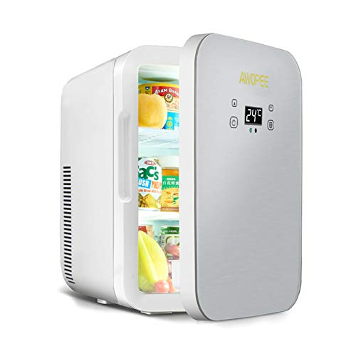 Mini Fridge for Bedroom, Awopee 12 Liter/11 Can Portable Mini Refrigerator with Digital Temperature Control,AC/DC Compact Cooler Warmer Fridge for Office,Car,Skincare,Medications,Breastmilk & Travel