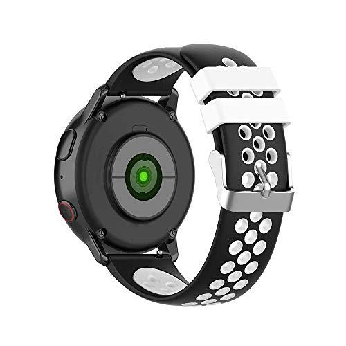 KINOEHOO Correas para relojes Compatible con Samsung active/S2 classic, Compatible con Garmin vivoactive 3/vivomove HR 20mm Pulseras de repuesto relojesde siliCompatible cona.(Negro + blanco)