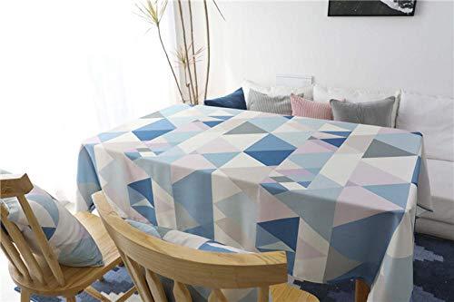 Outdoor TafelkledenWaterdichte Rechthoek Eettafel Tafelkleed Zwart Blauw Geometrische Tafelhoes voor Bruiloft Party Keuken Tafelkleed Polyester Fiber