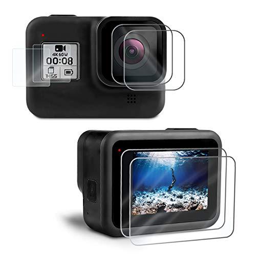 Kupton [6 Stück] Displayschutzfolie kompatibel mit GoPro Hero 8, Hartglas Displayschutz+Hartglas Objektivschutzfolie+HD Kleinem Display Schutz Zubehör kompatibel mit GoPro8 Black