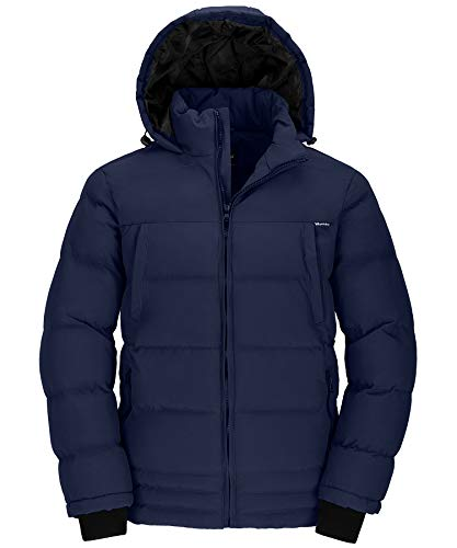 Wantdo Men's Heavyweight Windbreaker Quilted Hoodie Outwear Jacket Navy Medium