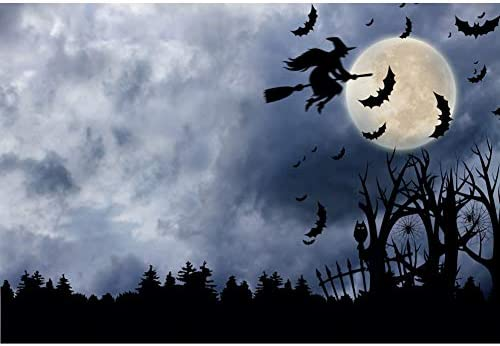 DORCEV 12x8ft Halloween Party Backdrop Scary Halloween Night Photography Backdrop Pumpkin Lantern Wooden Wall at Foggy Night Black Bat Party Banner Kids Adult Halloween Photo Studio Props