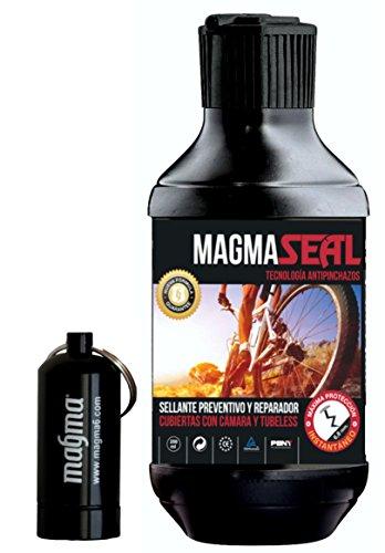 Reifenpannenflüssigkeit MagmaSeal 250 ml. Gegen Reifenpannen, vorbeugend und zur Reparierung. Flüssigkeit für schlauchlose Mäntel und Mäntel mit Schlauch. Inkl. undurchlässige Pillendose.