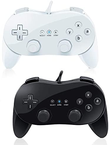 Wii Classic Controller VOYEE 2 Pack Wired Pro Controller for Nintendo Wii Black White product image