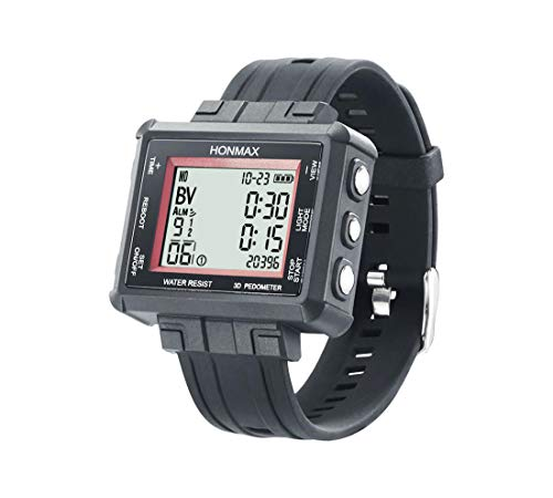 HONMAX 30 Different Intervals-3 ATM-Interval Watch - 3D Pedometer-USB Charge | Black-Red