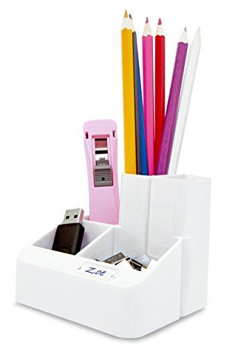 Rapesco Accesorios - Organizador de escritorio con 5 compartimentos y ventana de personalización, color blanco mate