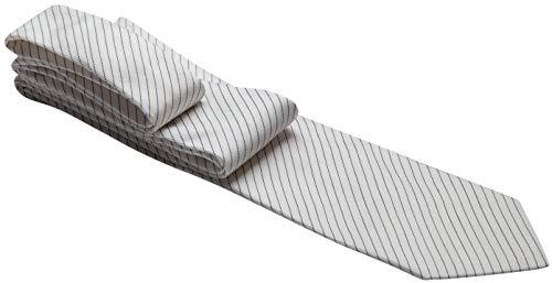 Gravata branca com listras finas azuis