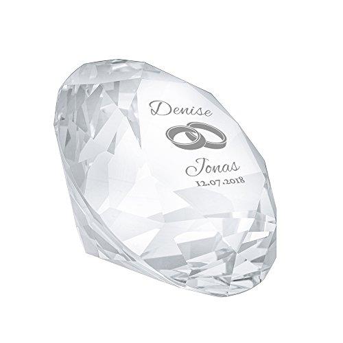 Casa Vivente Kristall aus Glas mit Gravur zur Hochzeit, Diamantenform, Motiv Ringe, Personalisiert mit Namen und Datum, Deko, Mit Geschenkbox
