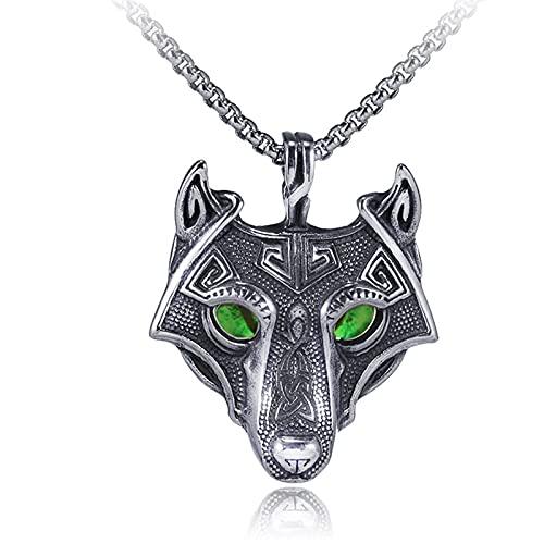 MINGDIAN Collar Retro de Acero de Titanio Collar de Acero Inoxidable para Hombres de Moda Colgante de Cabeza de Lobo