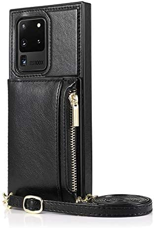 Case for Samsung Galaxy S20 Ultra, Zipper Wallet Case with Credit Card Holder/Crossbody Long Lanyard, Shockproof Leather TPU Case Cover for Samsung Galaxy S20 Ultra (Color : Black)