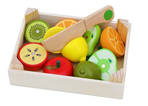 TOWO frutas y verduras juguete para cortar madera - frutas y verduras juguete para cortar-cortar frutas juguete verduras - Cocina accesorios frutas juguete para cortar- alimentos juguetes madera 3 años