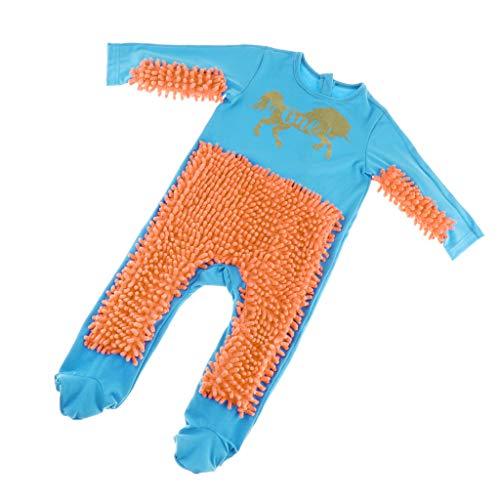SM SunniMix Lustiger Baby Kleidung Wischmop wischen Boden Strampler Overall Jumpsuit zum Krabbeln Kleinkinder Bekleidung, Farbwahl - Blau + Orange, 80cm