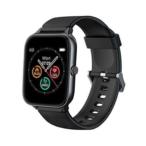 IOWODO Smartwatch, Reloj Inteligente Hombre Mujer con 5ATM Natación Modo,1.5' Pantalla con Esfera Personalizada,Pulsómetro, Monitor de Sueño,Podómetro,Pulsera de Actividad Inteligente para Android iOS