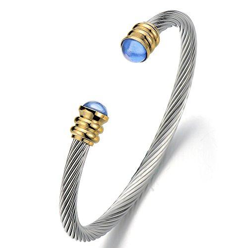 COOLSTEELANDBEYOND Elastische Verstellbare-Klassische Edelstahl Herren Damen Armband Verdrehten Stahlkabel Armreif mit Blau Harzkügelchen