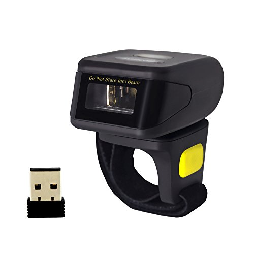 Bluetooth Wireless Ring Barcode Scanner, Symcode 1D Compatible with Bluetooth Function & 2.4GHz Wireless & Wired Connection, Portable Wearable Mini Finger Bar Code Reader barcode scanner symcode