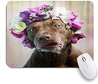 KAPANOUマウスパッド ピットブル犬の花 ゲーミング オフィス最適 高級感 おしゃれ 防水 耐久性が良い 滑り止めゴム底 ゲーミングなど適用 マウス 用ノートブックコンピュータマウスマット