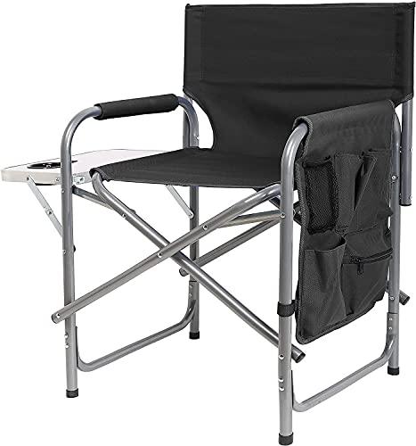 Ubon Stålram campingstol bärbar regissörsstol lätt sits med hopfällbart sidobord och fickor hopfällbar utrustning för camping strand resor sport 136 kg kapacitet svart