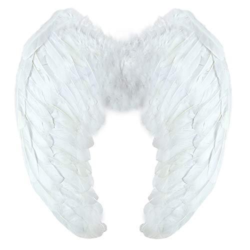 Yummy Bee - Ailes d'Ange en Plumes Blanc - Aile de Demon Noir - Ailes Diable Rouge - Déguisement Halloween Femme Adulte - Grand 60cm X 40cm (Blanc)