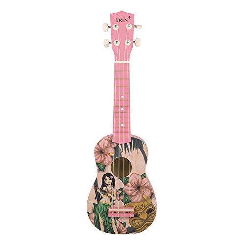 Ukelele portátil hawaiano de cuatro cuerdas, guitarra pequeña, material Basswood, diseño de niña pequeño, 21 pulgadas ukelele
