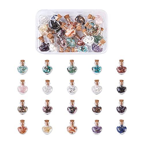 Cheriswelry Juego de 20 botellas de piedras preciosas con forma de corazón para decoración del hogar