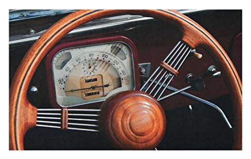 """Lunarable 1950s Doormat, Old Dashboard Kilometer Steering Wheel Driving City Transportation Picture, Decorative Polyester Floor Mat with Non-Skid Backing, 30"""" X 18"""", Seal Brown Cinnamon"""