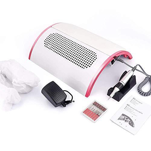 GuoEY 48W 2-IN-1 elektrische Nagelbohrmaschine Nagelstaubsammler mit 3 leistungsstarken Ventilatoren Staubsauger Maniküre Pediküre Polierwerkzeuge für Acryl UV UV Gel Klebenägel