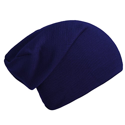 DonDon Bonnet Slouch Beanie pour l'hiver avec Design Classique et Moderne Bleu Marine