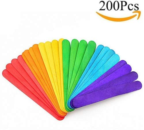 Moolon Colorful Wooden Sticks Ice Cream and Popsicle Handmade Tool for Children Handcrafts 200 PCS