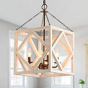 Farmhouse Wooden Chandelier, 4-Light Lantern Square Rectangle Chandelier, Cottage Wood Chandelier, Lantern Chandelier with Wood Accents