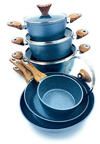 Waltmann - Batería de cocina de inducción (10 piezas, 3 ollas con tapa de 28, 24 y 20 cm, 2 sartenes de 28 y 24 cm, 1 cacerola con tapa de 16 cm), color gris