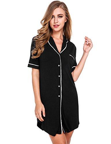KELAND Damen Nachthemd Hemd Negligee Nachtwäsche Sleepshirt mit Reverskragen und Brusttasche