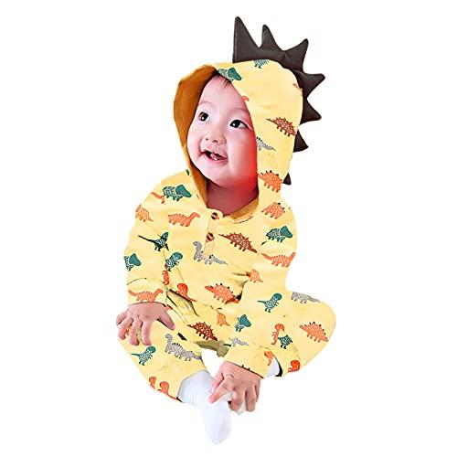 0-2 Years,SO-buts Infant Baby Boys Girls Long Sleeve Dinosaur Printed Cartoon Hooded Romper Long Sleeve Jumpsuit Autumn Winter Romper Sleepwear (Beige, 12-18 Months)