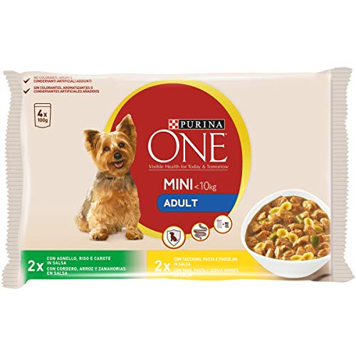 Purina One Mini Umido Cane Adult con Agnello e Tacchino in Salsa, 40 Buste - 10 Confezioni da 4x100 g