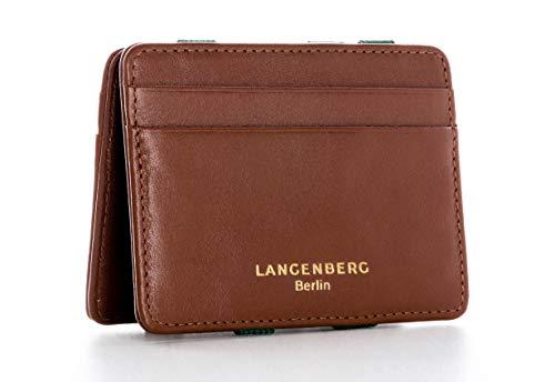 LANGENBERG Berlin - Magic Wallet handgefertigt aus echtem Rindsleder - schmale Geldbörse mit RFID-Blocker - Kreditkartenetui (braun)