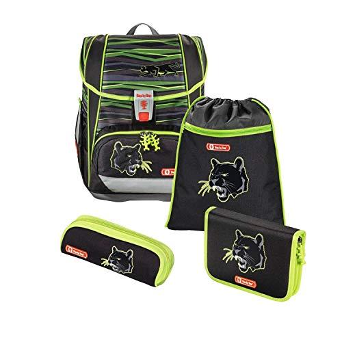 """Step by Step Schulranzen-Set Light """"Wild Cat"""" 4-teilig, schwarz-gelb, Dschungel-Design, ergonomischer Tornister mit Reflektoren, höhenverstellbar für Jungen 1. Klasse, 18L"""