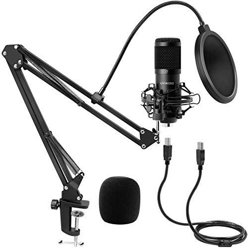Micrófono de Condensador, Kit de Micrófono USB UYIKOO Profesional Cardioide Estudio Mic con Soporte de Choque y el Brazo de la Pluma para Podcast, YouTube Video, la Grabación de Música, Juego