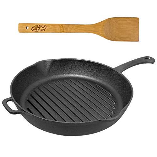 26 cm grillpan van gietijzer + spatel van bamboe * steakpan met schenktuit koekenpan pan rond * alle warmtebronnen incl. inductie * 55 mm hoog, 21,4cm bodemdiameter