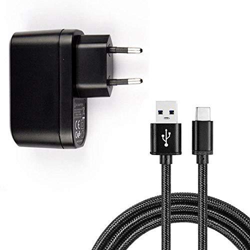 Chargeur Européen Plug Noir 1A Adaptateur USB + Câble Micro USB Noir pour Vodafone Smart E8 / N8 / V8