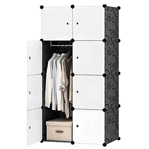 Armario de armario portátil con cubo, armario portátil para colgar ropa, organizador de almacenamiento modular con puertas y 3 perchas, cubos más profundos para mayor espacio