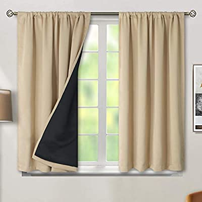 BGment Thermal Insulated 100% Blackout Curtains for Bedroom with Black Liner, Double Layer Full Room Darkening Noise Reducing Rod Pocket Curtain ( 52 x 45 Inch, Beige, 2 Panels ) from BGment