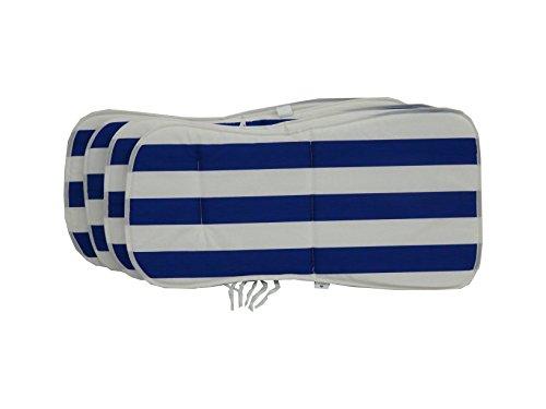 Maffei Art 521 Coussin Coton Monobloc Bas cm. 75x36/40x2. Made in Italy. Rayé Blanc Bleu. Lot de 4 pièces