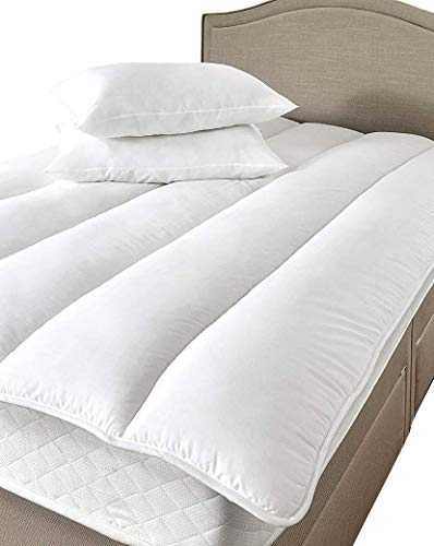 Blended Cotton Mattress Topper Reviver Hollowfibre Filled Double Bed Size from Lancashire Bedding