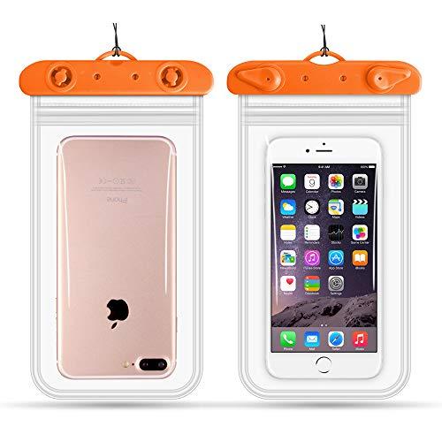 Jiuyue Sac De Téléphone Portable De Plongée en Plein Air Sac éTanche Transparent pour Téléphone Portable De Natation à éCran Tactile Intelligent * 2 Orange