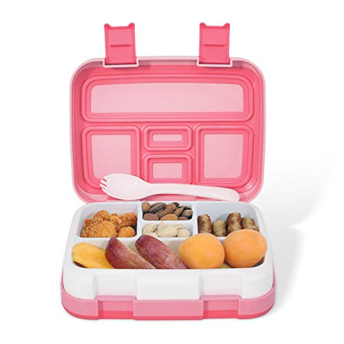 Kids Lunch Box - Leakproof 5-Compartments Bento Boxes for Toddlers and Kids, Travel and On-the-go Meal and Snack Packing Food Storage Container, Lunch Box for Boys and Girls (Pink)