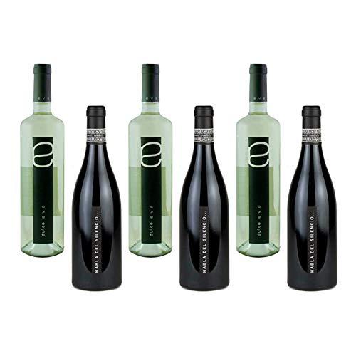 Caja de vinos con 3 botellas de vino Habla del Silencio y 3 botellas de vino blanco Dulce Eva