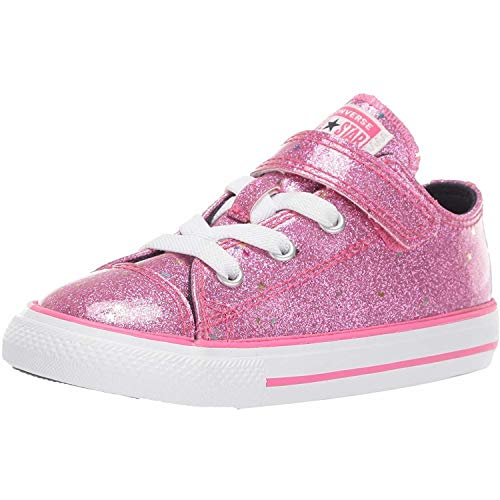 Converse Girls' Chuck Taylor All Star 1V Galaxy Glimmer Sneaker, Mod Pink/Obsidian/White, 5 M US Toddler