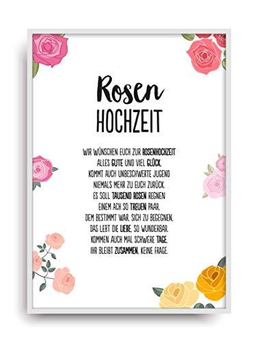 Hochzeit Karte ROSENHOCHZEIT Kunstdruck 10. Hochzeitstag Rosen Brautpaar Bild ohne Rahmen DIN A4